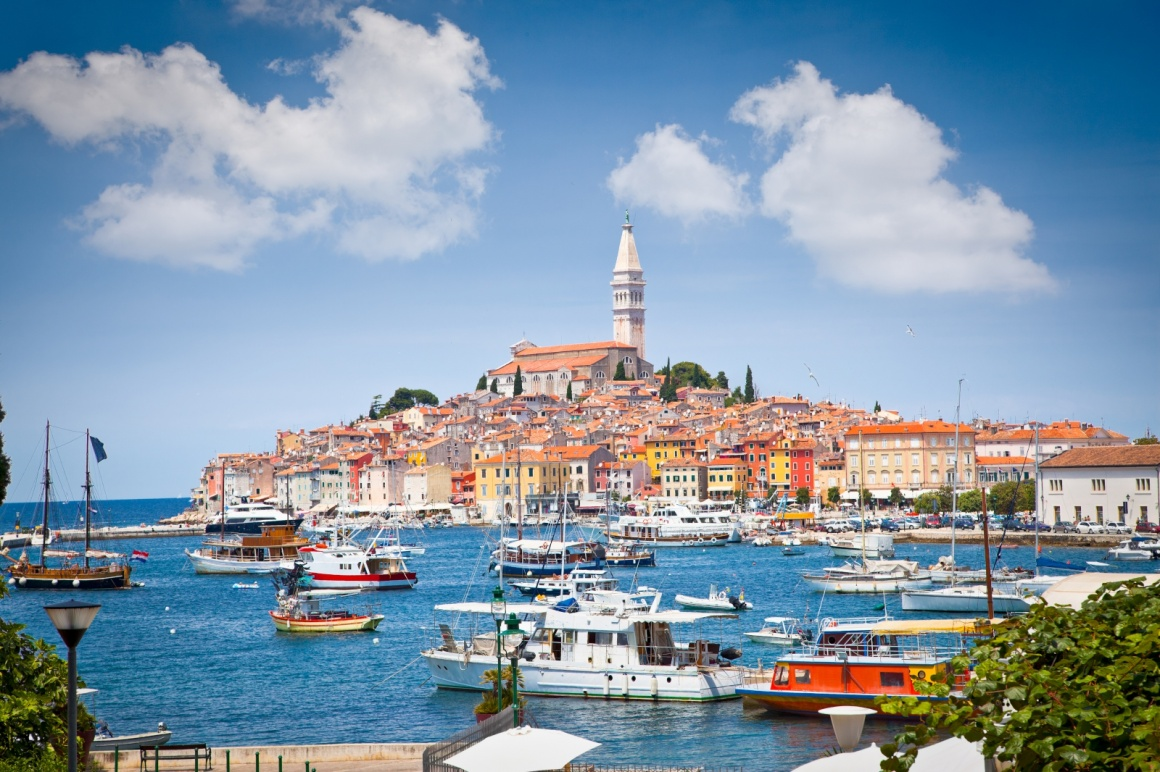 'Panoramic view on old town Rovinj from harbor. Istria peninsula, Croatia' - Istria