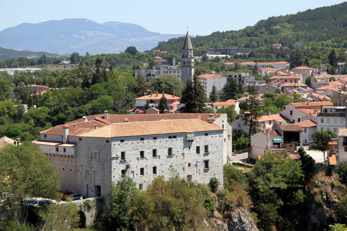 View of castle and houses of old Pazin, Istria, Croatia
